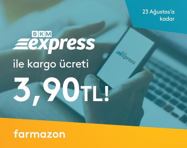 Farmazon.com.tr'de BKM Express ile kargo ücreti 3,90 TL!