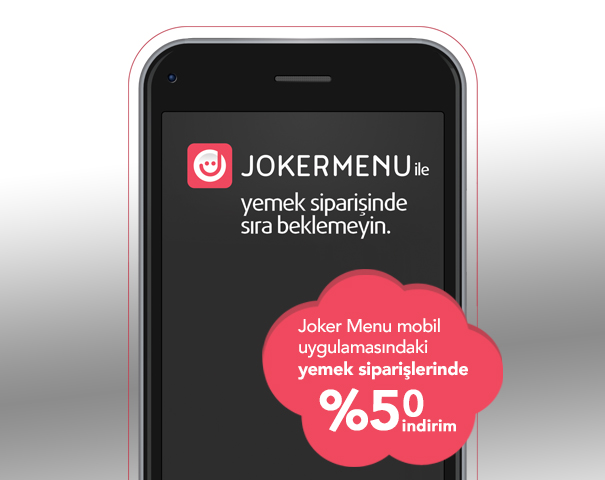 Joker Menu mobil uygulamasındaki yemek siparişlerinde %50 indirim!