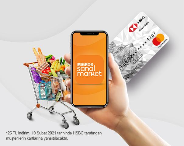 HSBC kredi kartınızla Migros Sanal Market'teki 100 TL ve üzeri ödemenize 25 TL indirim!
